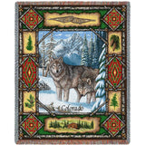 Colorado Wolf Lodge Art Tapestry Throw