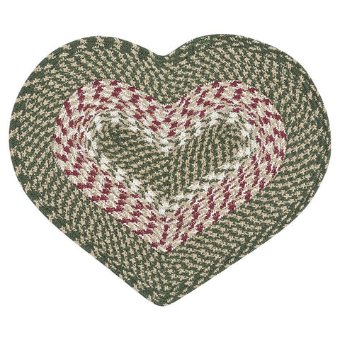 Green/Burgundy Heart Shaped Braided Cotton Blend Placemat 60-009