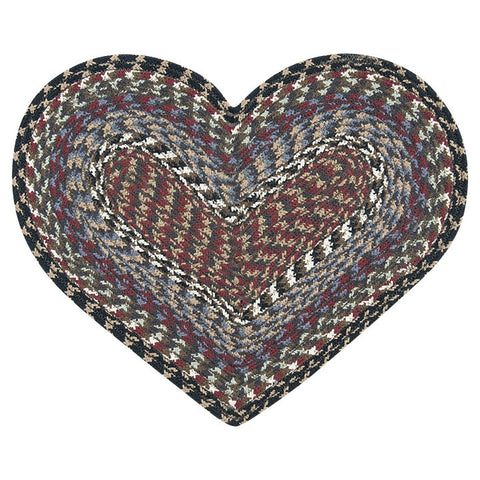 Burgundy/Blue/Gray Heart Shaped Braided Cotton Blend Placemat 60-043