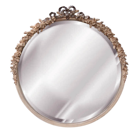Roses and Ribbon Round Beveled Wall Mirror in Creme Gold Silver Finish