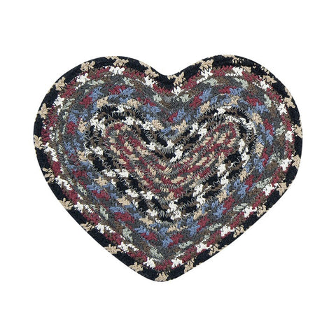 Burgundy/Blue/Gray Set of 2 Heart Shaped Braided Cotton Blend Trivet 61-043