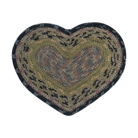 Brown/Black/Charcoal Set of 2 Heart Shaped Braided Cotton Blend Trivet 61-099