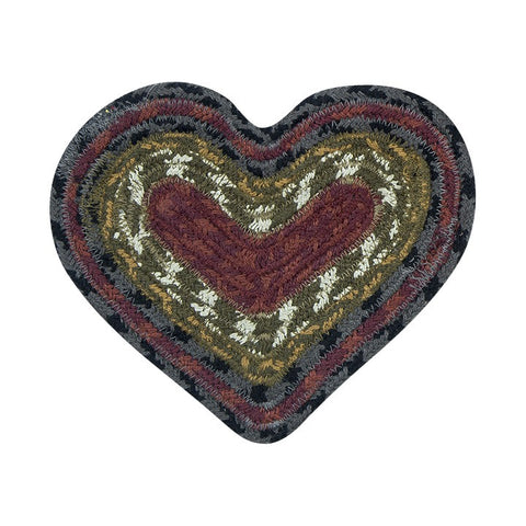 Burgundy/Olive/Charcoal Set of 2 Heart Shaped Braided Cotton Blend Trivet 61-238