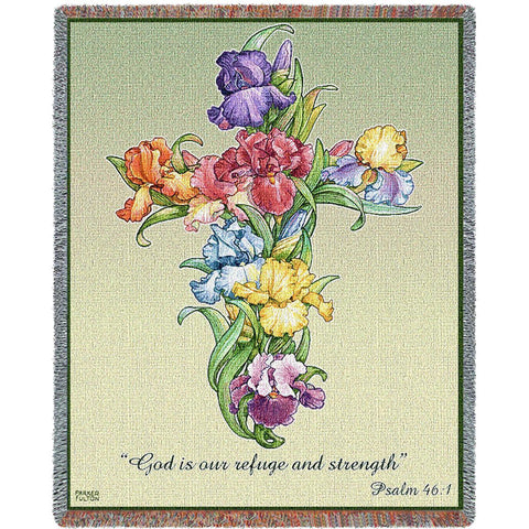 Iris Bouquet Cross with Scripture Art Tapestry Throw