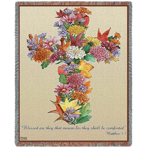 Autumn Bouquet Cross with Scripture Art Tapestry Throw