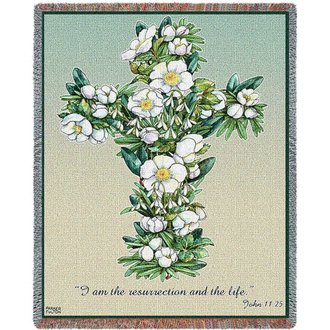 Gardenia Bouquet Cross with Scripture Art Tapestry Throw