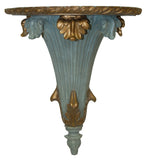 Acanthus Plume Bracket Wall Shelf, Aged Blue Gold Color Finish