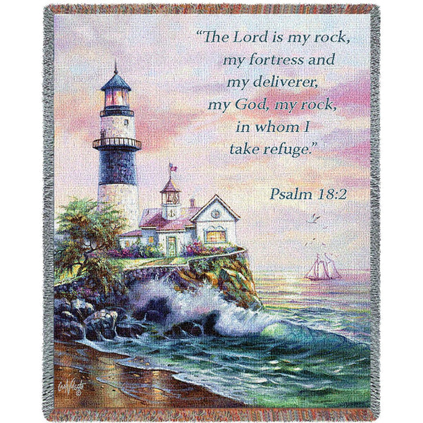 Lighthouse Scene With Scripture Art Tapestry Throw