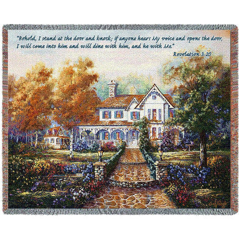 Victorian Home with Scripture Art Tapestry Throw