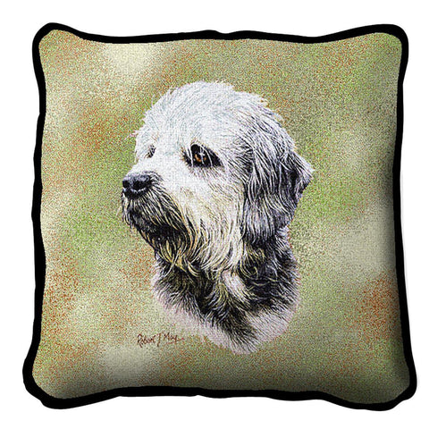 Dandie Dinmont Dog Portrait Art Tapestry Pillow