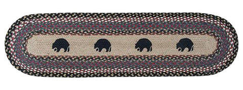 "Black Bears Oval Braided Jute Table 13""x48"" Runner 64-043BB"