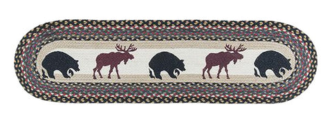 "Bear and Moose Oval Braided Jute Table 13""x48"" Runner 64-043BM"