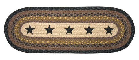 Black Stars Oval Braided Jute Table Runner, Available in 2 Sizes