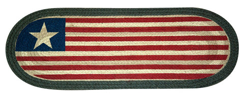 "American Flag Oval Braided Jute 13""x36"" Table Runner 68-1032"