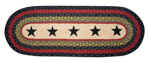 "Black Stars III Oval Braided Jute 13""x36"" Table Runner 68-238S"