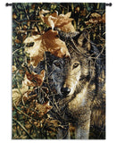 Wolf's Steady Gaze Art Tapestry Wall Hanging