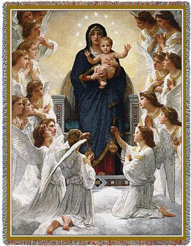 Mary Baby Jesus And Angels Art Tapestry Throw