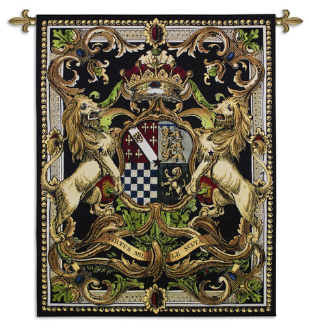 Crest with Lions and Crown Art Tapestry Wall Hanging