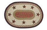 "Barn Stars Oval Braided Jute 20""x30"" Rug 65-019BS"