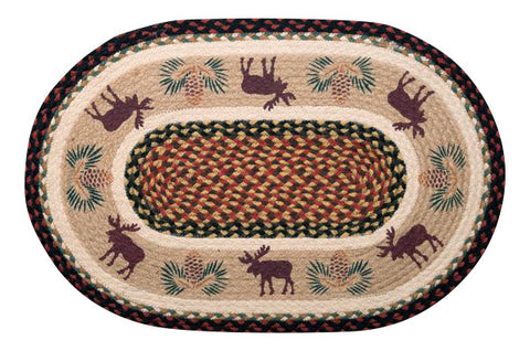"Moose and Pinecone Border 20""x30"" Oval Braided Jute Rug 65-019MP2"