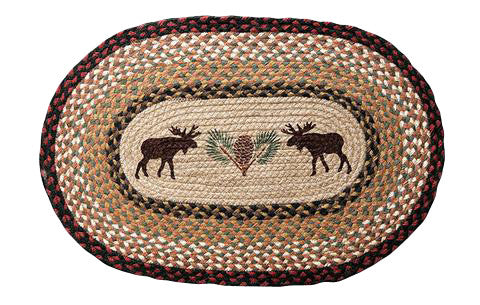 "Moose and Pinecone 20""x30"" Oval Braided Jute Rug 65-019MP"