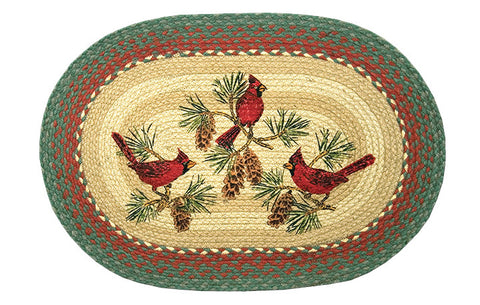 "Red Cardinal Birds on Pinecone Boughs Oval Braided Jute 20""x30"" Rug 65-025C"