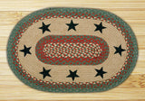 "Green Stars 20""x30"" Oval Braided Jute Rug 65-025GS"