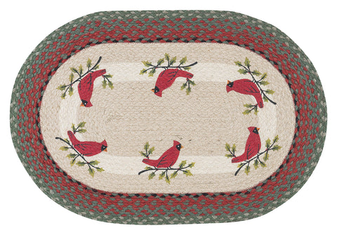 "Red Cardinal on Holly Branch 20""x30"" Oval Braided Jute Rug 65-025HC"