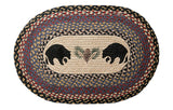 "Black Bears and Pinecone Oval Braided Jute 20""x30"" Rug 65-043BB"
