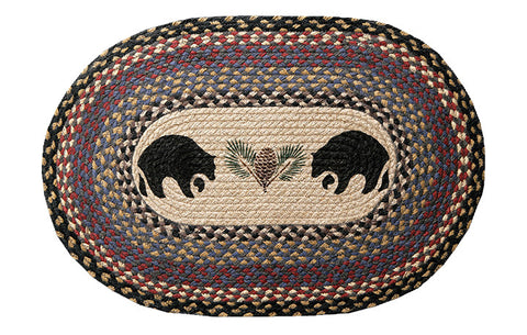 "Black Bears and Pinecone 20""x30"" Oval Braided Jute Rug 65-043BB"