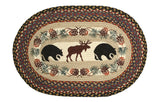 "Black Bears and Moose Oval Braided Jute 20""x30"" Rug 65-043BM"