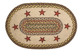 "Gold Stars 20""x30"" Oval Braided Jute Rug 65-051GS"