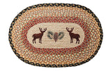 "Deer and Pinecone Oval Braided Jute 20""x30"" Rug 65-057DP"