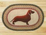 "Dachshund Dog Oval Braided Jute 20""x30"" Rug 65-057D"