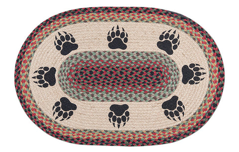 "Bear Paw Prints 20""x30"" Oval Braided Jute Rug 65-081BP"