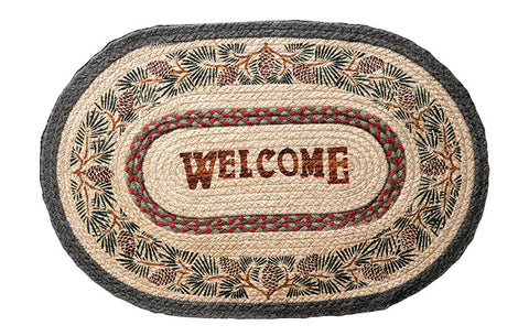 "Pinecone Welcome 20""x30"" Oval Braided Jute Rug 65-081PW"