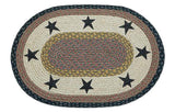 "Black Stars 20""x30"" Oval Braided Jute Rug 65-099S"