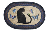 "Black Cat Silhouette and Butterflies Oval Braided Jute 20""x30"" Rug 65-100CG"