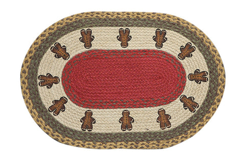 "Gingerbread Men 20""x30"" Oval Braided Jute Rug 65-111GBM"