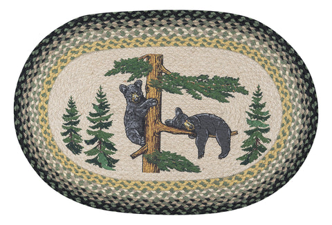 "Bear Cubs 20""x30"" Oval Braided Jute Rug 65-116BC"