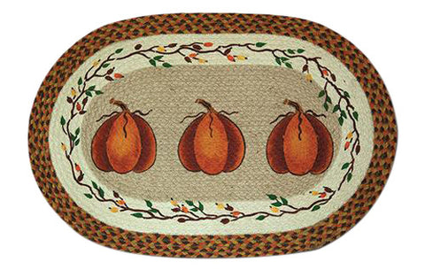 "Harvest Pumpkin 20""x30"" Oval Braided Jute Rug 65-222HP"