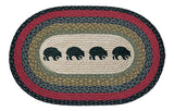 "Black Bears Oval Braided Jute 20""x30"" Rug 65-238BB"