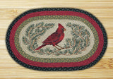 "Red Cardinal Bird and Pine Boughs Oval Braided Jute 20""x30"" Rug 65-238C"