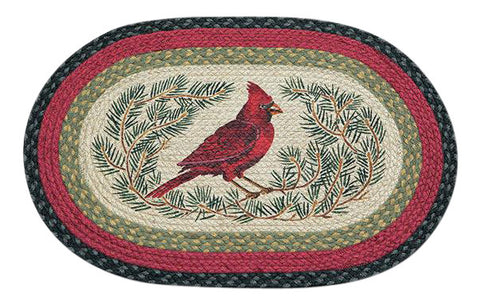 "Red Cardinal Bird and Pine Boughs 20""x30"" Oval Braided Jute Rug 65-238C"