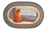 "Cat at Window Oval Braided Jute 20""x30"" Rug 65-250WC"