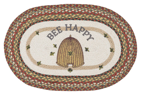 "Bee Happy 20""x30"" Oval Braided Jute Rug 65-300BH"