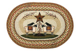 "Black Crows on Sheep & Barn Star 20""x30"" Oval Braided Jute Rug 65-300SBS"