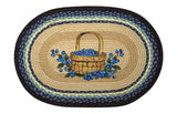 "Blueberries in Basket 20""x30"" Oval Braided Jute Rug 65-312BB"