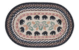 "Black Bears and Pinecones Oval Braided Jute 20""x30"" Rug 65-313BB"