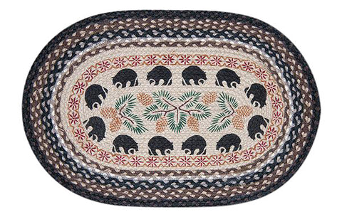 "Black Bears and Pinecones 20""x30"" Oval Braided Jute Rug 65-313BB"